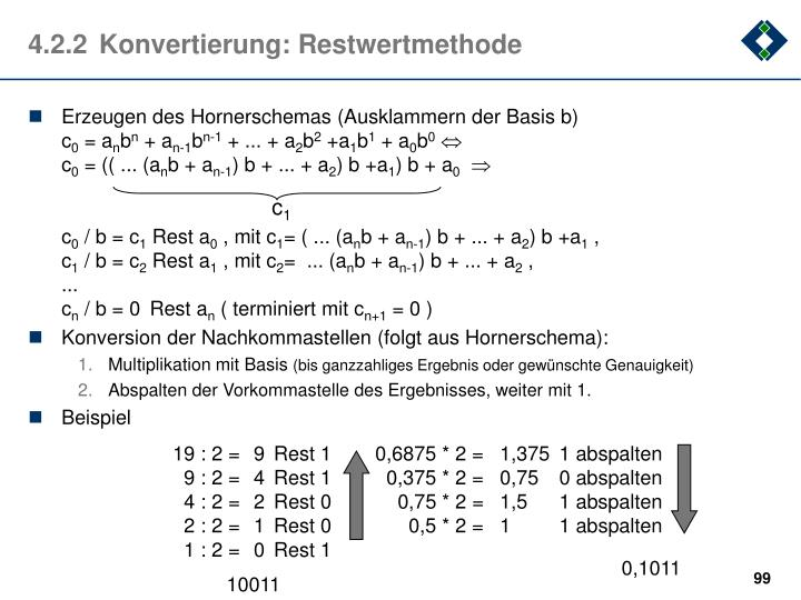 4.2.2	Konvertierung: Restwertmethode