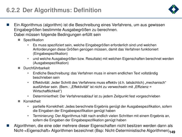 6.2.2	Der Algorithmus: Definition