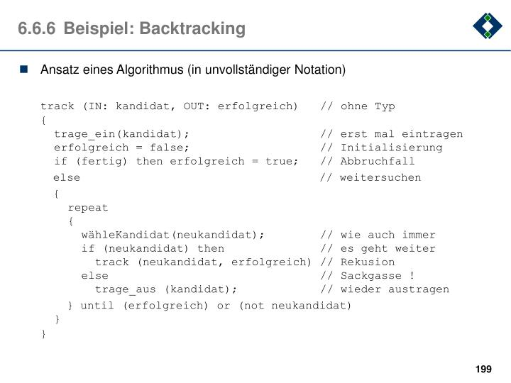 6.6.6	Beispiel: Backtracking