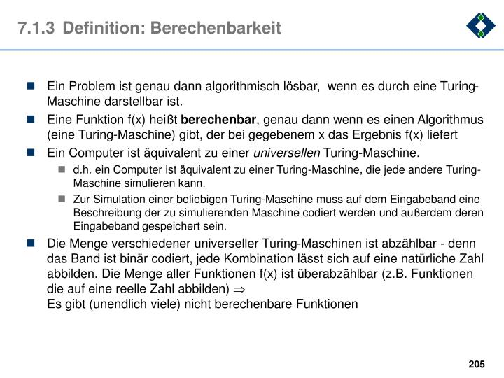 7.1.3	Definition: Berechenbarkeit