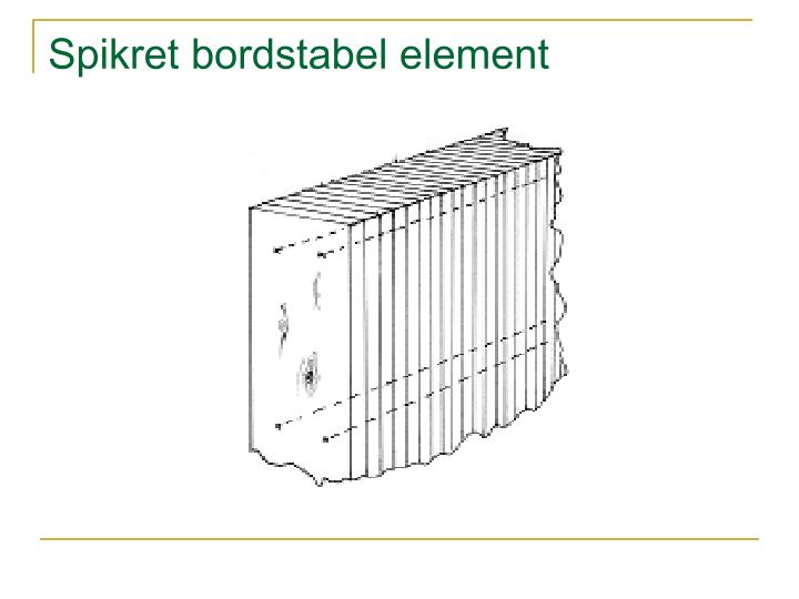Spikret bordstabel element