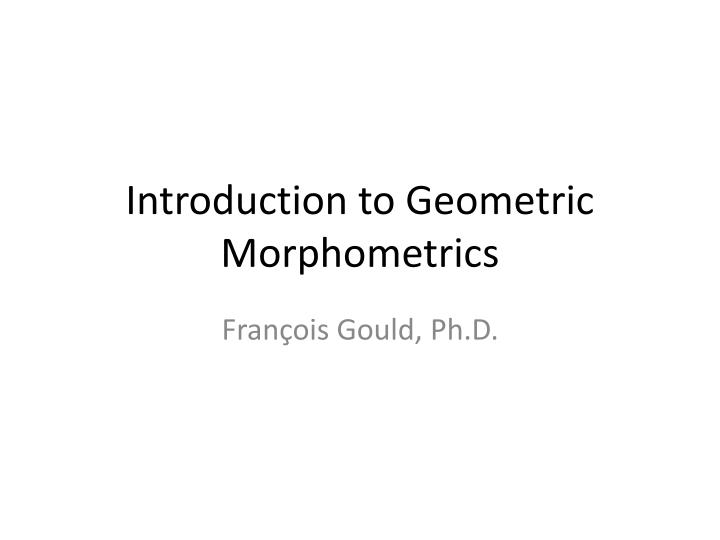 introduction to geometric morphometrics n.