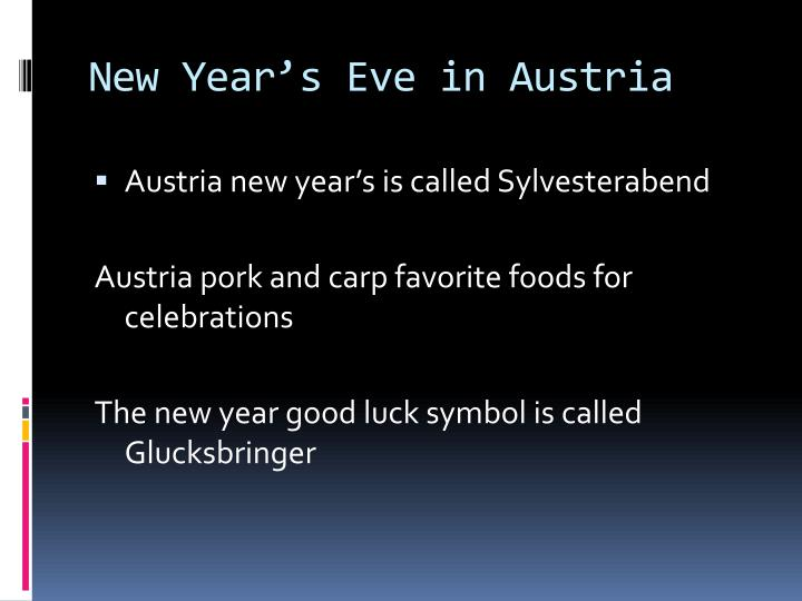 New Year's Eve in Austria
