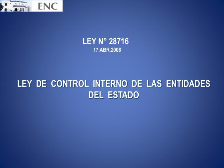 LEY N° 28716