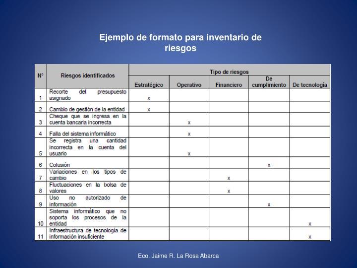 Ejemplo de formato para inventario de riesgos