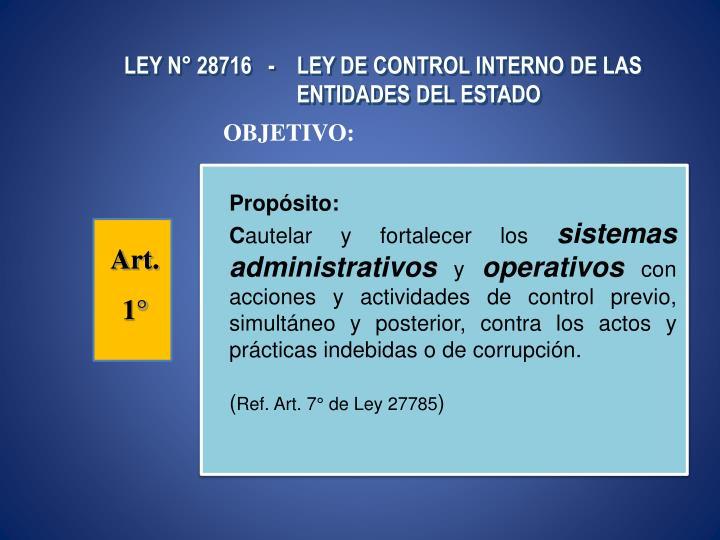 LEY N° 28716   -    LEY DE CONTROL INTERNO DE LAS