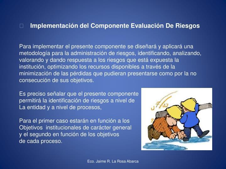  Implementación del Componente Evaluación De Riesgos