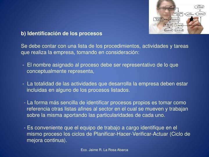 b) Identificación de los procesos