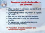 european medical education out of tune