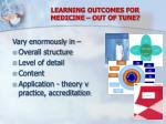 learning outcomes for medicine out of tune