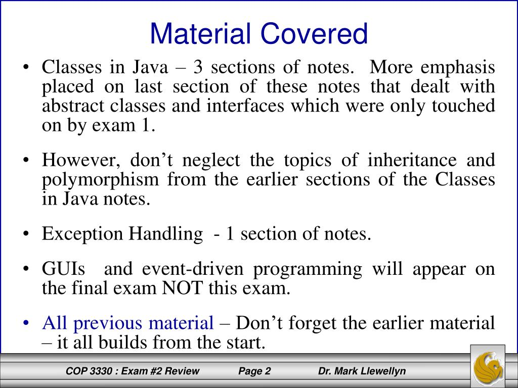 PPT - COP 3330: Object-Oriented Programming Summer 2011 EXAM