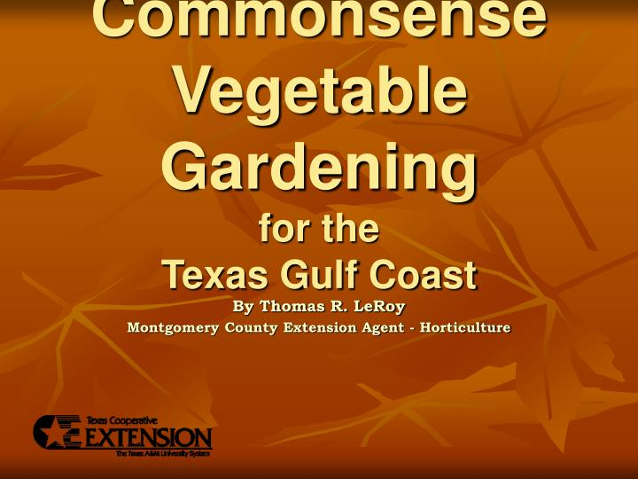 commonsense vegetable gardening for the texas gulf coast n.