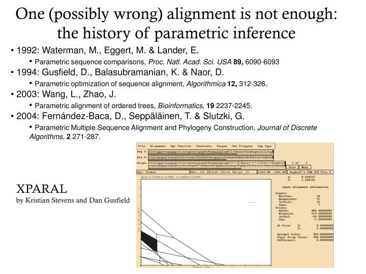 One (possibly wrong) alignment is not enough: the history of parametric inference
