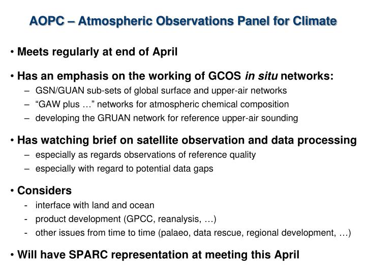 AOPC – Atmospheric Observations Panel for Climate