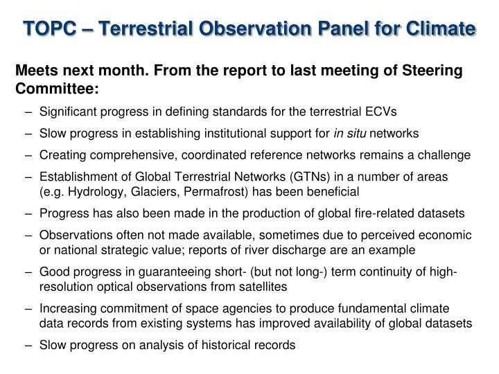 TOPC – Terrestrial Observation Panel for Climate