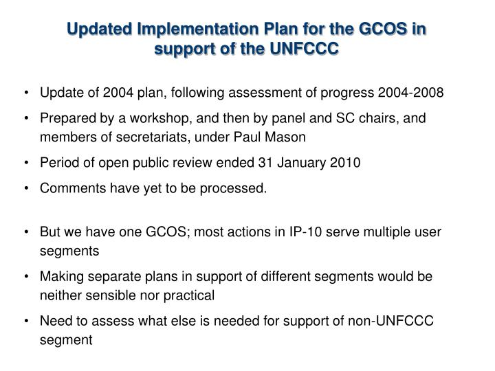Updated Implementation Plan for the GCOS in support of the UNFCCC