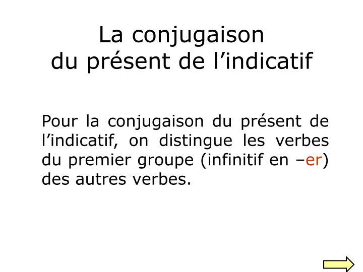 Ppt La Conjugaison Du Present De L Indicatif Powerpoint Presentation Id 3577776