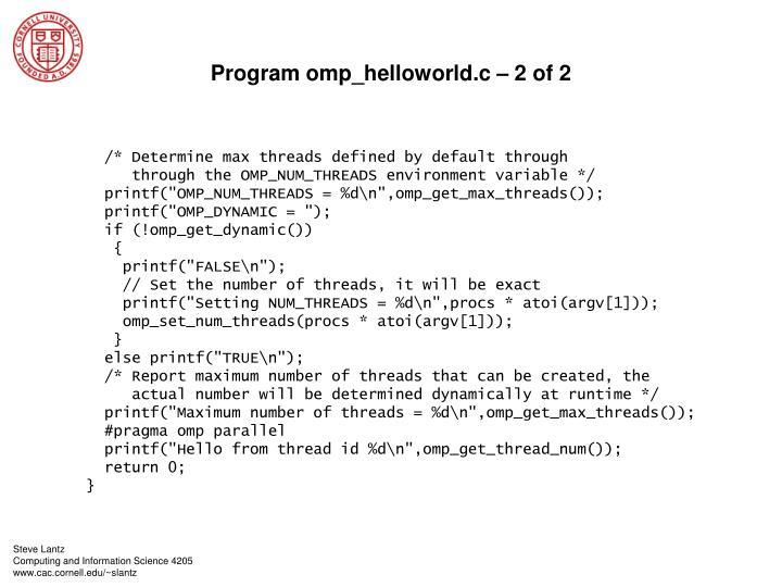 Program omp_helloworld.c – 2 of 2