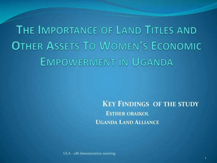 the importance of land titles and other assets to women s economic empowerment in uganda n.