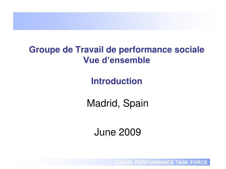 groupe de travail de performance sociale vue d ensemble introduction
