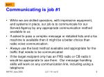communicating is job 1