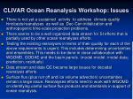clivar ocean reanalysis workshop issues