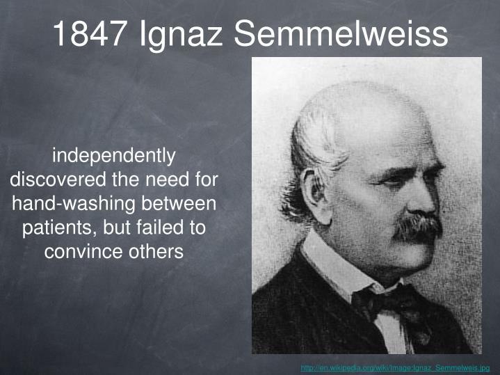 1847 Ignaz Semmelweiss