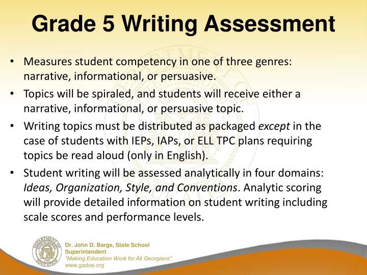 grade 5 writing assessment n.