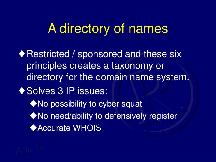 A directory of names