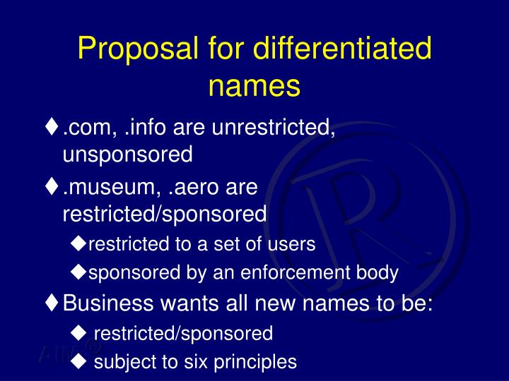 Proposal for differentiated names