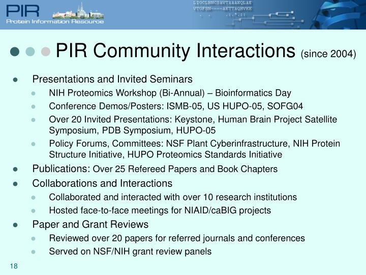PIR Community Interactions