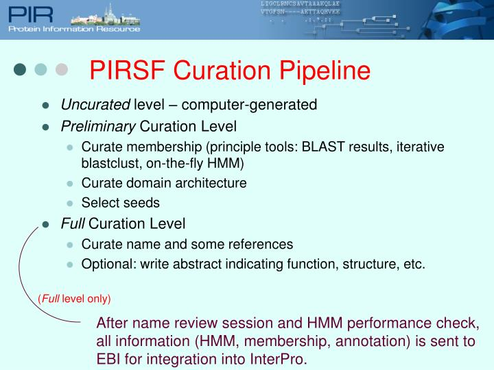 PIRSF Curation Pipeline