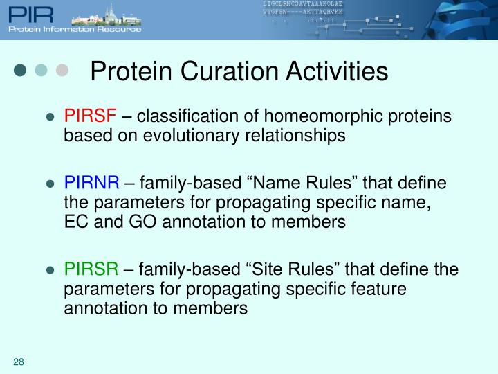 Protein Curation Activities