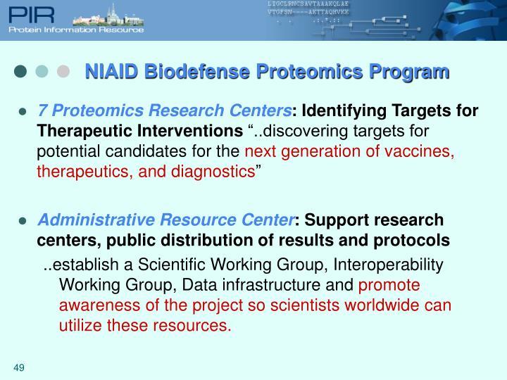 NIAID Biodefense Proteomics Program