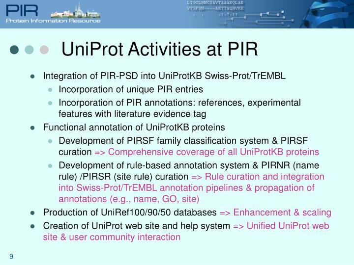 UniProt Activities at PIR