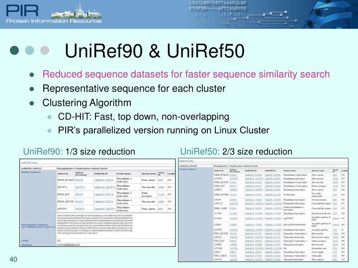 UniRef90 & UniRef50