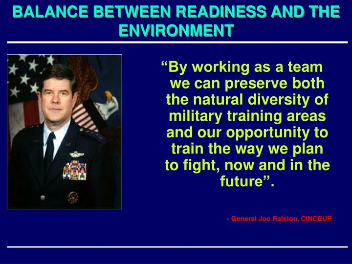 BALANCE BETWEEN READINESS AND THE ENVIRONMENT