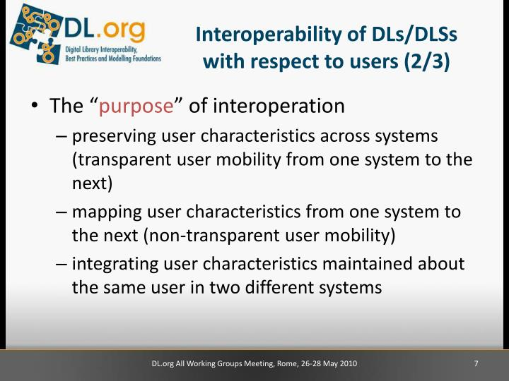 Interoperability of DLs/DLSs with respect to users (2/3)