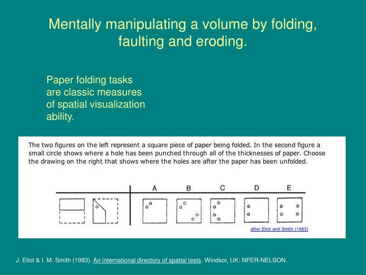 Mentally manipulating a volume by folding, faulting and eroding.