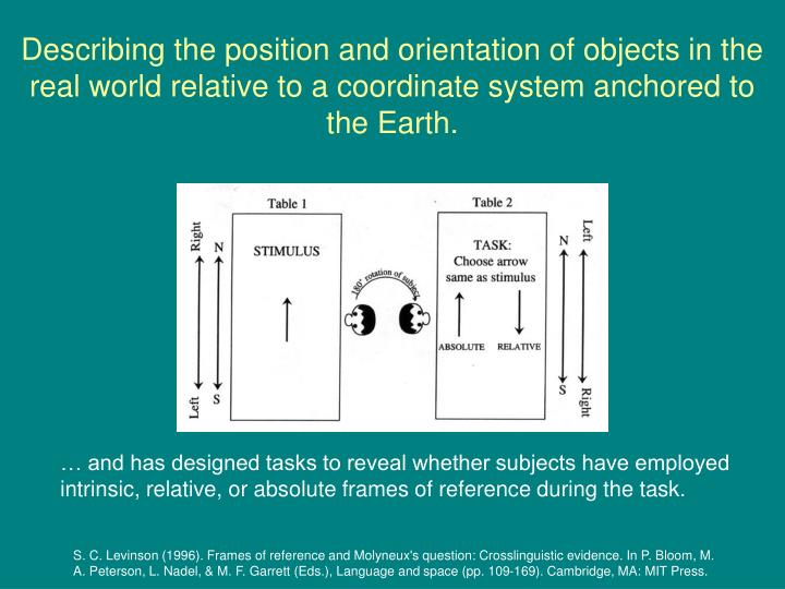 Describing the position and orientation of objects in the real world relative to a coordinate system anchored to the Earth.
