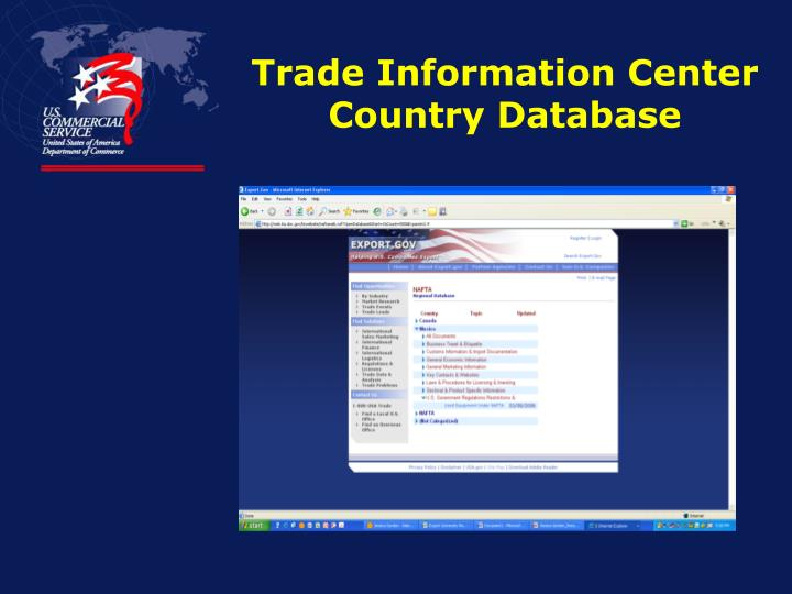 Trade Information Center Country Database
