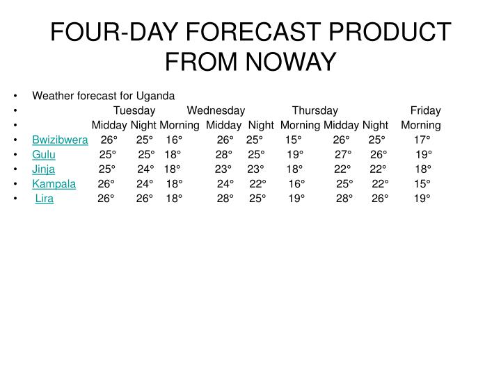 FOUR-DAY FORECAST PRODUCT FROM NOWAY