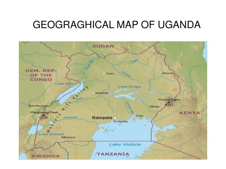 Geograghical map of uganda