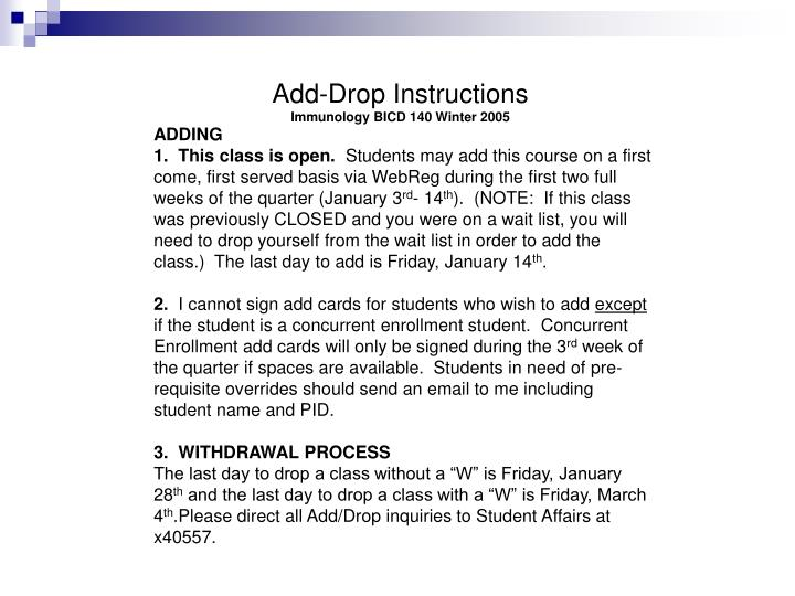 Add-Drop Instructions