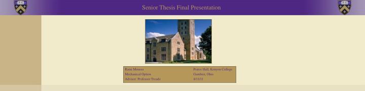 Senior Thesis Final Presentation
