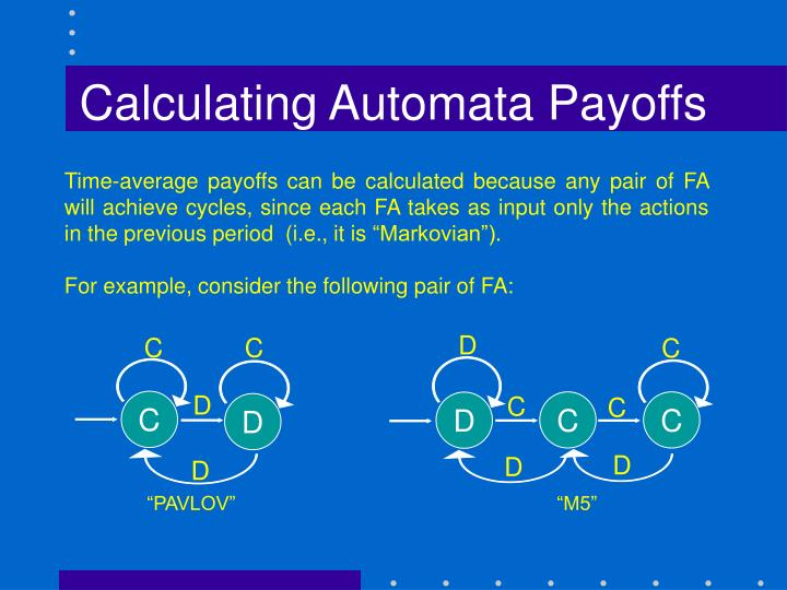 Calculating Automata Payoffs
