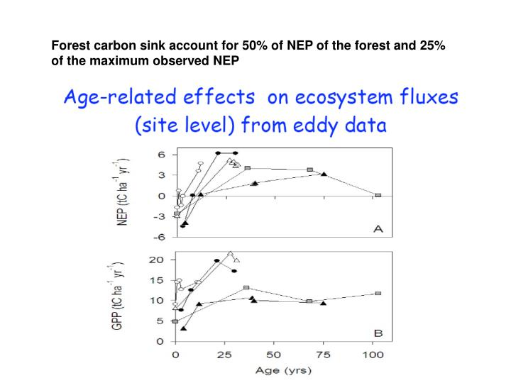Forest carbon sink account for 50% of NEP of the forest and 25% of the maximum observed NEP
