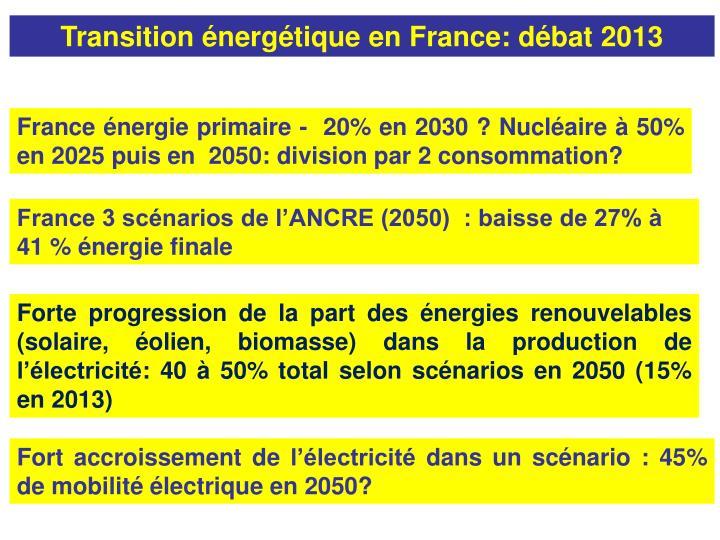 Transition énergétique en France: débat 2013