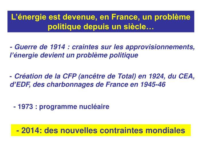 L'énergie est devenue, en France, un problème politique depuis un siècle…