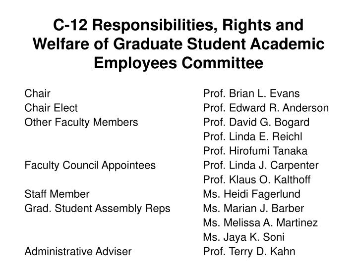 C 12 responsibilities rights and welfare of graduate student academic employees committee